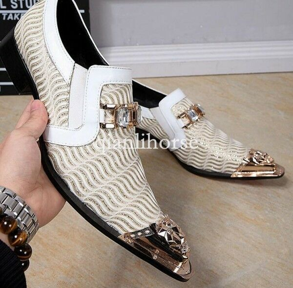 White men's Wedding Dress Formal Business Slip On Party Fashion shoes Groom
