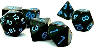 RPG-7-teilig-Wuerfel-Set-Poly-DnD-dice4friends-Rollenspiel-Schwarz-Blau-w4-w20