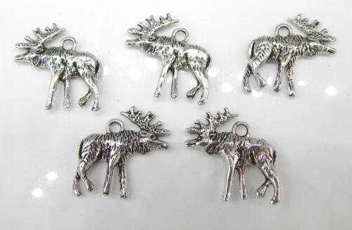 20 Pendentif orignal Renne argent antique 22 mm métal Hirsch remorque