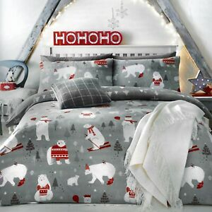 Bedlam-Christmas-Bedding-Festive-Xmas-Duvet-Quilt-Cover-Set-Reversible-Grey