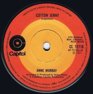 ANNE MURRAY 1971 UK 45  COTTON JENNY - <span itemprop=availableAtOrFrom>Wolverhampton, United Kingdom</span> - ANNE MURRAY 1971 UK 45  COTTON JENNY - Wolverhampton, United Kingdom