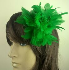 green feather flower fascinator millinery hair clip wedding piece ascot race