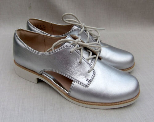 Clarks Hamble Myth Womens Silver Leather Shoes UK 4.5