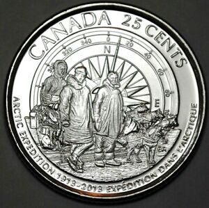 Canada-2013-25-Cents-First-Arctic-Explorers-Frosted-Coin-UNC-Gem-BU