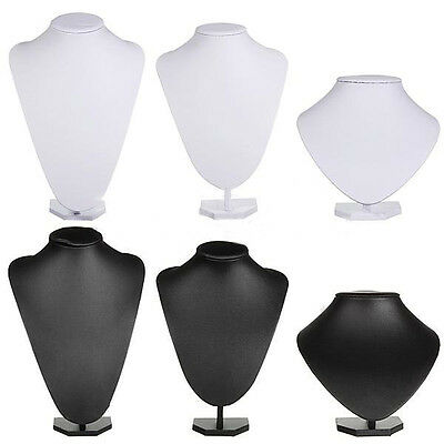 Black White PU Leather Jewellery Bust Necklace Earring Display Stand Holder