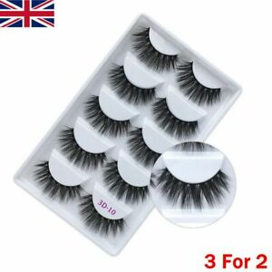 3D Mink False Eyelashes Long Thick Natural Half Fake Eye Lashes Set UK-5 Pairs