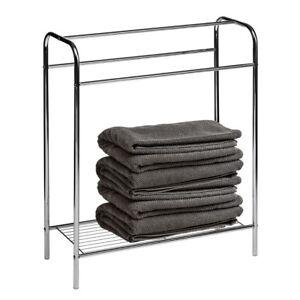 towel stand free standing rack chrome plated steel bathroom rail storage shelf 5018705794341 ebay. Black Bedroom Furniture Sets. Home Design Ideas