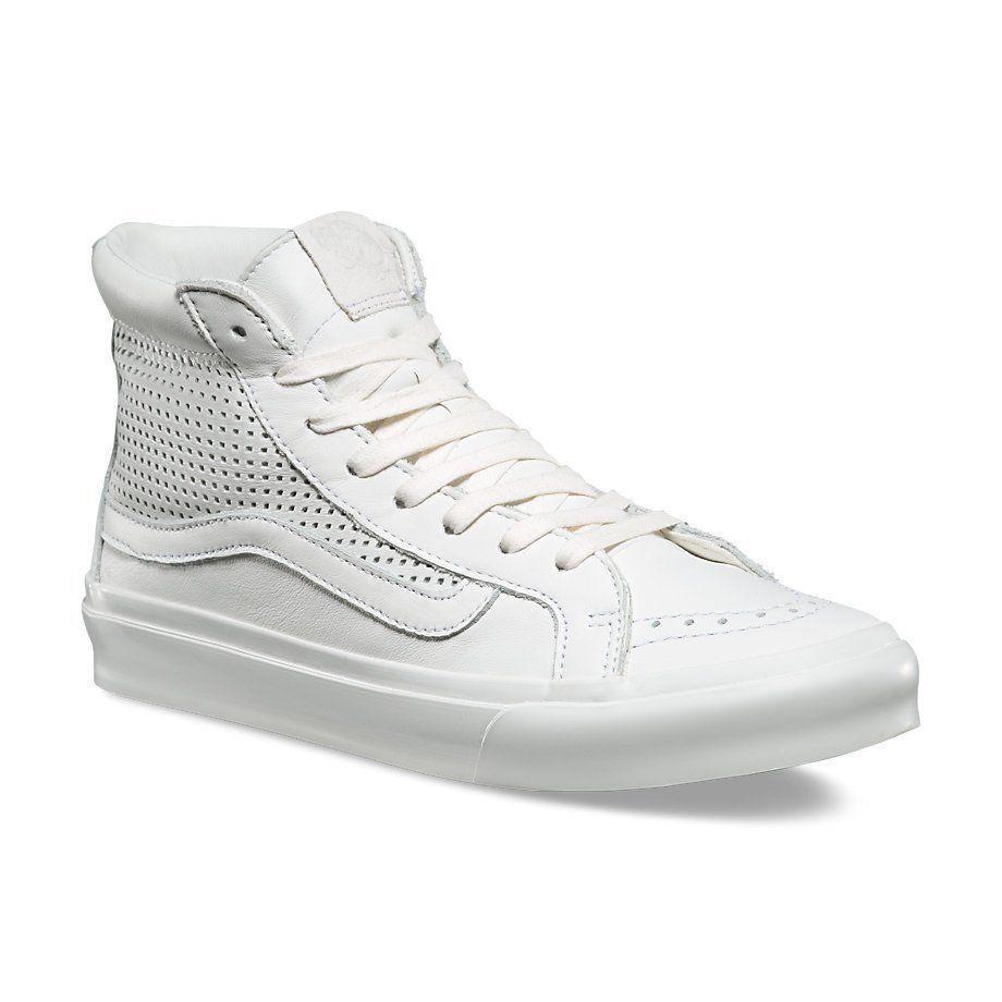 Vans Sk8 Hi Slim Cutout Square Perf blanc Blanc de Blanc Chaussures hommes 8 femmes 9.5