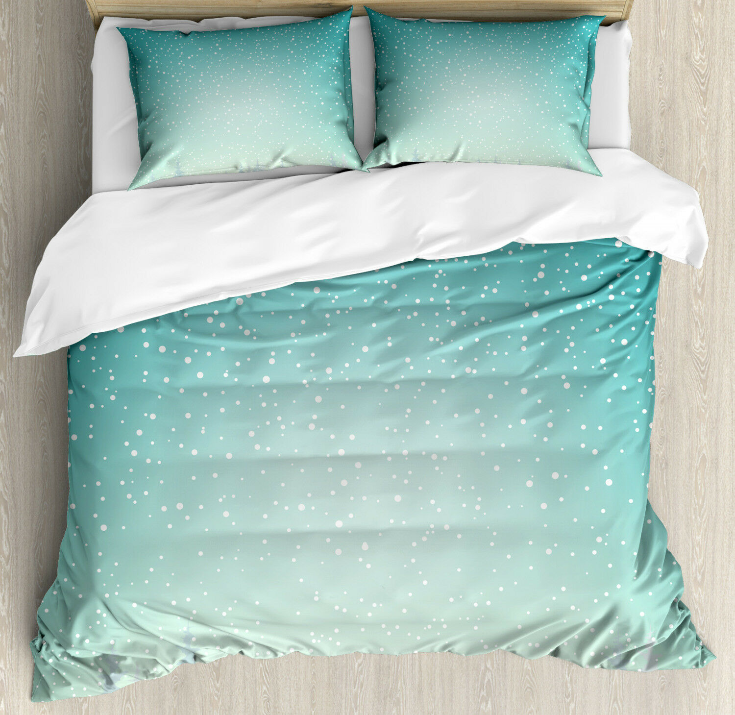 Winter Duvet Cover Set with Pillow Shams Spruce Forest Snow Woods Print
