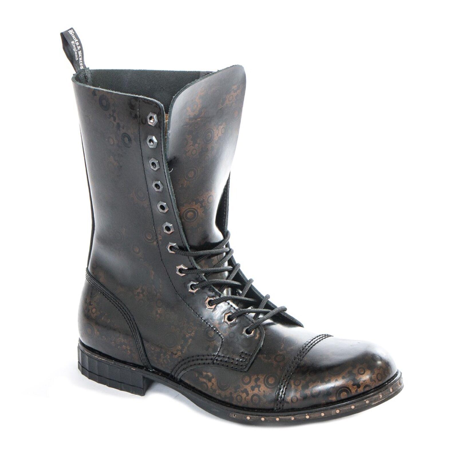 Stiefel & Braces - 12 Loch Steampunk GEAR Schuhe Gothik Ranger Steam Punk Leder MA
