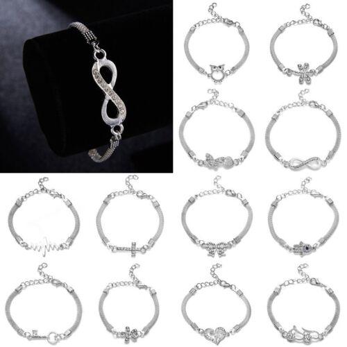 Charm Animal Crystal Heart Adjustable Cuff Silver Bracelet Women Bangle Jewelry
