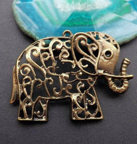 "2.5/"" big Filigree Elephant charm bronze tone elephant charm pendant"