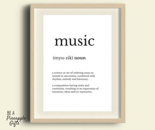 wall art family//friend gift music defintion quote print quote