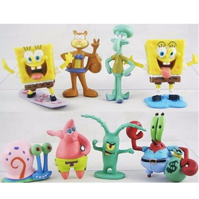 SpongeBob Squarepants Patrick Star Squidward Tentacles PVC Figure Toys 8pcs Set