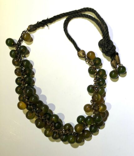 Vintage Celluloid Green Bead Necklace