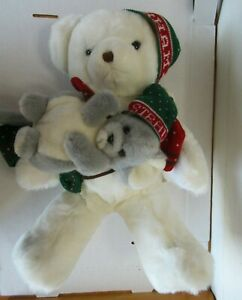 Vintage-1987-Abearham-A-amp-S-The-Mouse-Christmas-Teddy-Bear-Hats-Mittens-Tag
