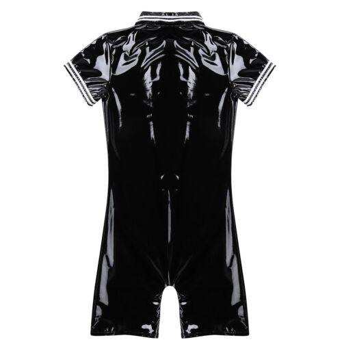 Mens Wet Look Jumpsuit Zipper Bodysuit PVC Leather Catsuit Zentai Suits Clubwear