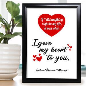 Boyfriend Girlfriend Gifts Personalised Anniversary Card Wife Husband Him Her Ebay
