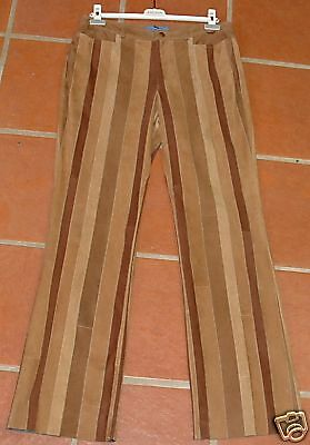 ESCADA SUEDE LEATHER BROWN STRIPED PANTS 42  965 LUX