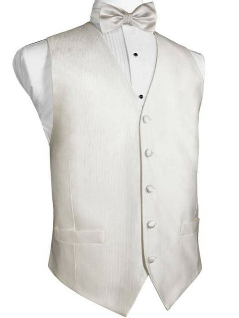 Ivory Silk Faille Tuxedo Vest with Matching Long Tie and Bow Tie