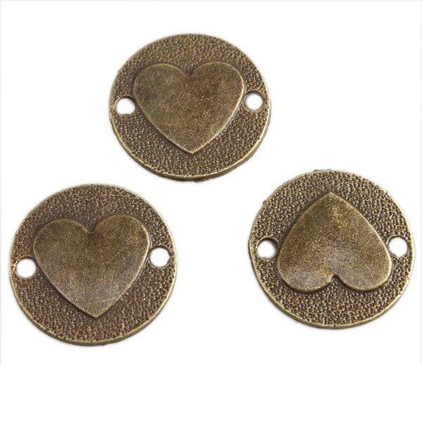 40x New Antique Bronze Charms Heart Connector Fit Necklaces bracelets 141515