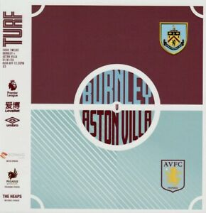 BURNLEY-v-ASTON-VILLA-Premier-League-Programme-2020-Free-Uk-Post