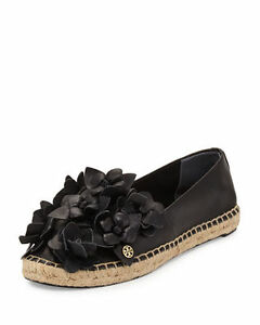 d6566ac873ee56  225 NEW Tory Burch Blossom Espadrille Black Leather Flowers Flats ...