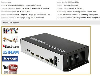 MPEG4 H 264 4 Channels HDMI To IP Video Encoder IPTV 1080P 1080I Live  Broadcast | eBay