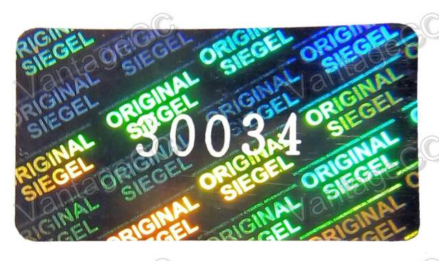 "80x HUGE ""Original Siegel"" Hologram Stickers, NUMBERED, 30mm x 17mm Labels, VOID"