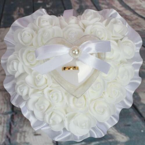 Wedding Ceremony Ivory Satin Crystal Ring Bearer Pillow Cushion Ring Pillow