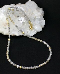 Echte-Natur-Roh-Diamant-kette-Edelsteinkette-Funkelnd-Silber-Grau-Collier-Edel