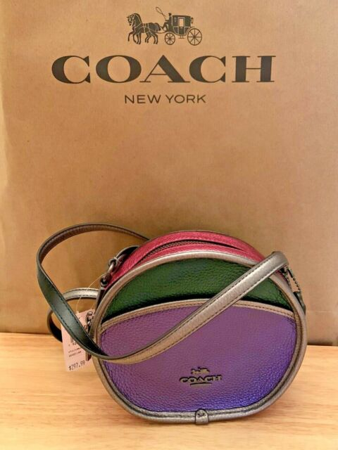 Coach F55593 Smooth Leather Metallic Colorblock Crossbody Shoulder Bag  $298
