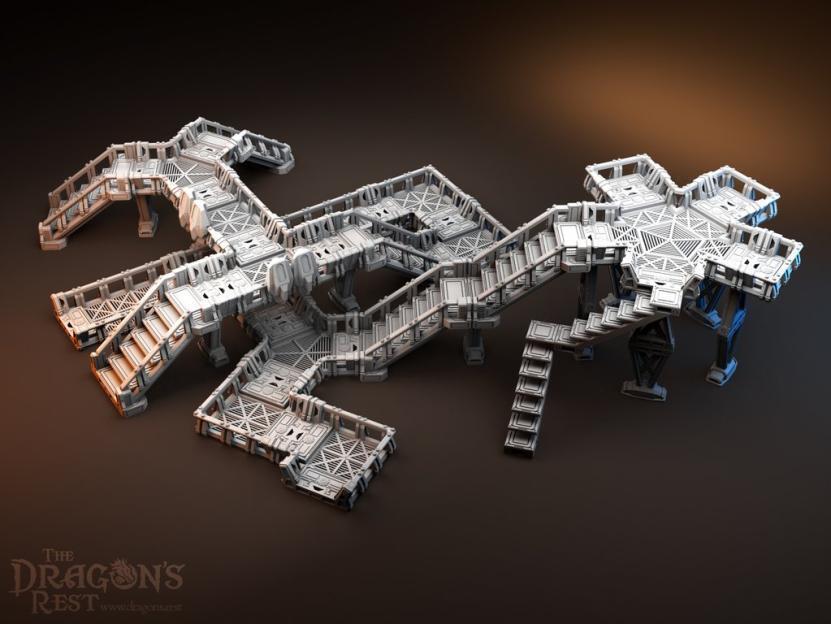 Pasarela elevada Conjunto Adecuado Para 25-32mm wargaming de ciencia ficción