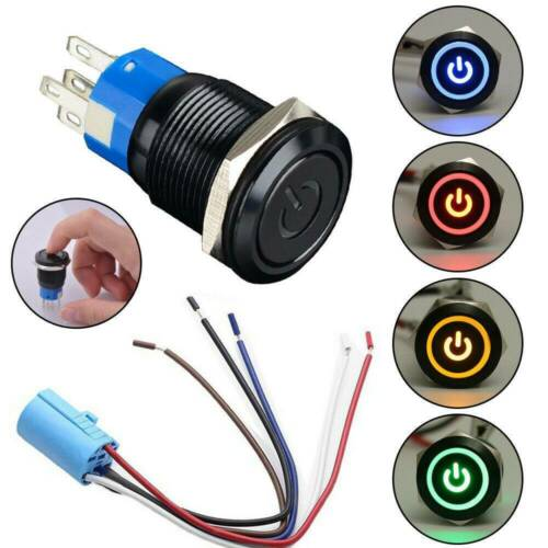 19mm Metal Waterproof 12//24V LED Power Symbol 5 Pin Reset Car Push Button Switch