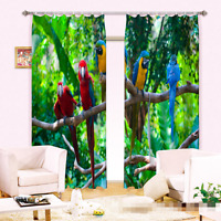 3d Parrot Tree6 Blockout Photo Curtain Printing Curtains Drapes Fabric Window Au