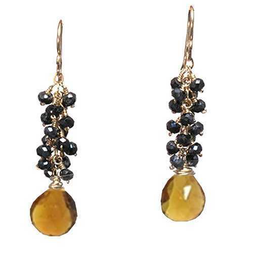 """1-3//4/"""" Long Details about  /Clusters of Black Spinel and Whiskey Quartz Gemstone Earrings"""