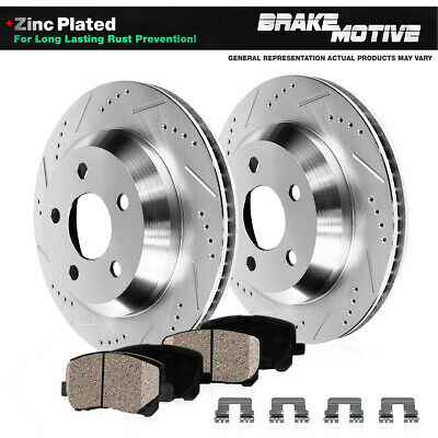Fit 2007-2010 BMW X5 Rear Sport Black Drill Slot Brake Rotors+Ceramic Brake Pads