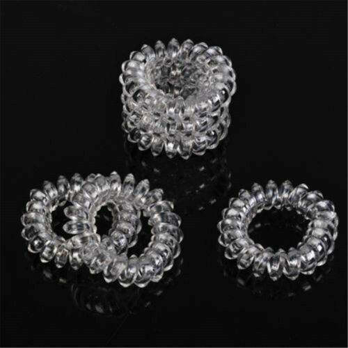 6pcs Clear Elastic Rubber Hair Ties Hairband Spiral Rope HairBand Girl