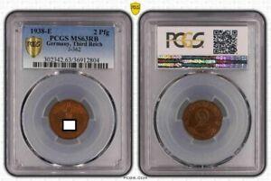 Third Reich 2 Pfennig 1938 E Fresh Mint, Kupferpatina PCGS MS63RB