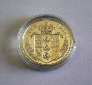 Island-Country-Niue-1996-Commemorative-1-Silver-Dollar-goldplated-The-Bounty