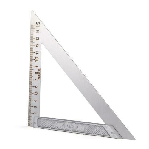 90 Right Angle Stainless Steel Triangle Ruler Woodworking Drawing Tools US