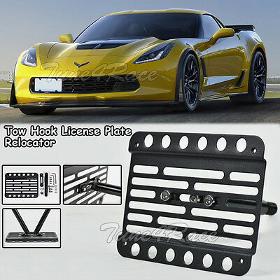 For 15-up chevrolet corvette C7 Z06 Front Bumper Tow Hook License Plate Bracket