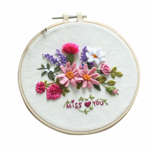 Bordado De Flores Starter Kit hágalo usted mismo Craft Hilo De Punto De Cruz Bordado Conjunto de cobertizo