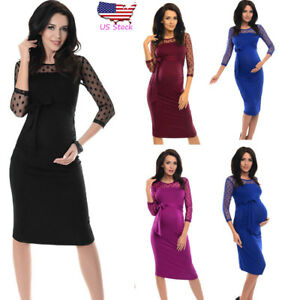 3c9a0031f6408 Women Pregnancy Dot Lace Party 3/4 Sleeve Party Bodycon Dress ...