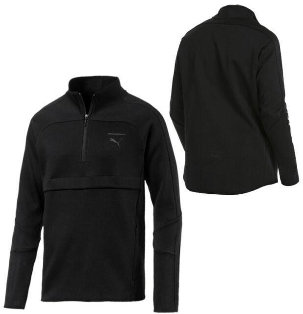 Puma Pace Primary Savannah Mens Half Zip Sweatshirt Jumper Black 575049 01 M7