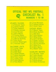 1967-Philadelphia-Football-Checklist-No-1-1-99-Card-197