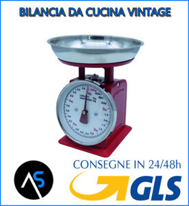 BILANCIA VINTAGE MECCANICA DA CUCINA CON VASSOIO PER ALIMENTI DPM BC600 ROSSA