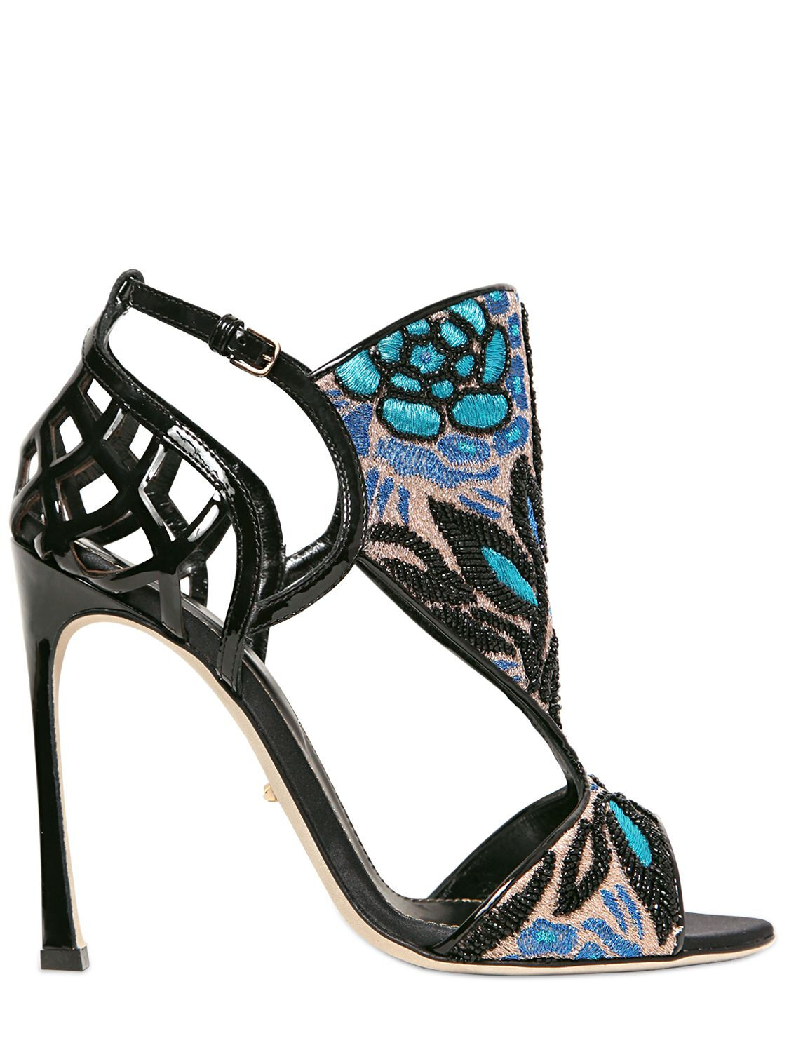 NEW Sergio Rossi Black Fortuny Embellished Patent Embroidered Sandals shoes 39