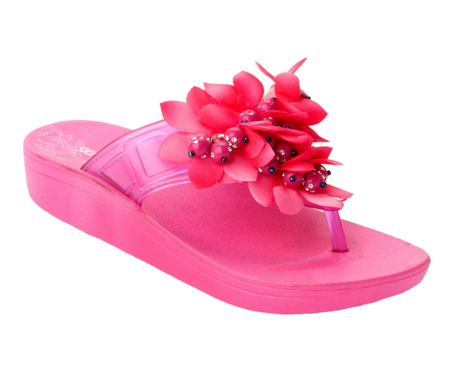 WOMENS FUSCHIA FLOP WEDGE DIAMANTE FLOWER FLIP FLOP FUSCHIA CASUAL SUMMER SANDALS LADIES SIZE 751525