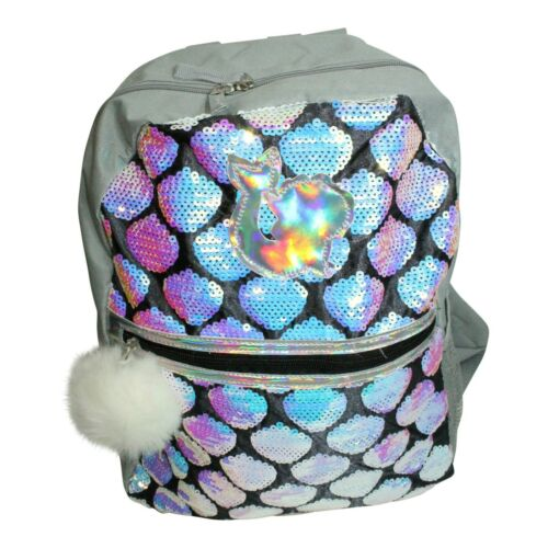 Back to School Backpack Set Sequin Mermaid w Folders Scented Pencils Keychain